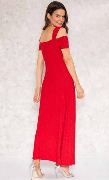Embellished Glitter Maxi Dress Red - Gallery Image 2