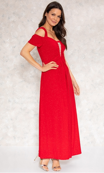 Embellished Glitter Maxi Dress Red - Gallery Image 3