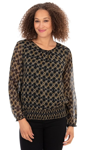 Mesh Sleeve Patterned Blouse Black/Mustard