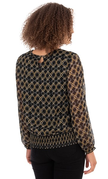 Mesh Sleeve Patterned Blouse Black/Mustard - Gallery Image 2