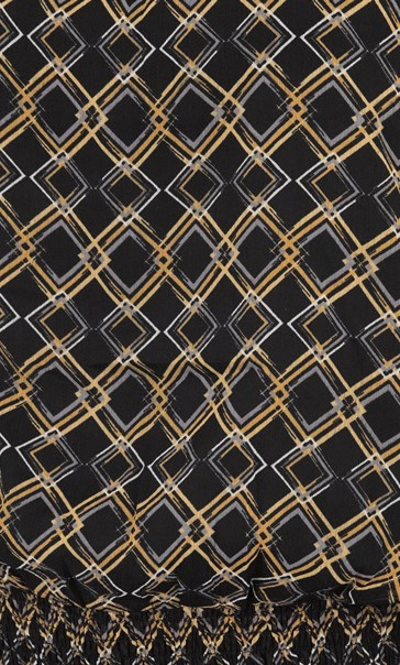 Mesh Sleeve Patterned Blouse Black/Mustard - Gallery Image 3