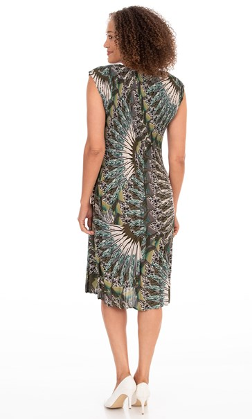 Feather Print Pleated Midi Dress - Greens