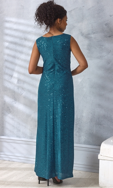 Sleeveless Sparkle Maxi Dress Teal - Gallery Image 3