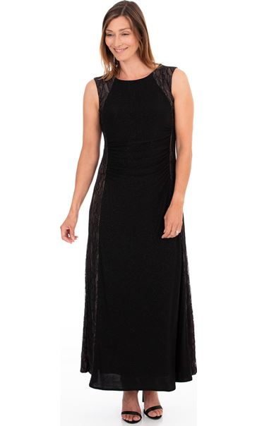 Lace Panelled Shimmer Maxi Dress Black