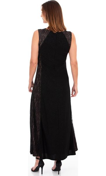 Lace Panelled Shimmer Maxi Dress Black - Gallery Image 2