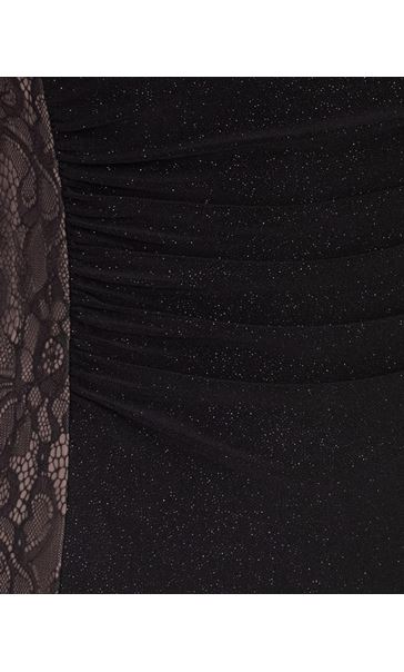 Lace Panelled Shimmer Maxi Dress Black - Gallery Image 3