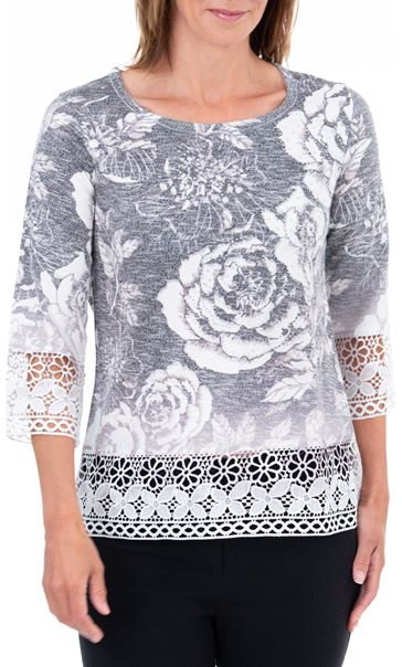 Anna Rose Lace Knitted Top Grey/Ivory