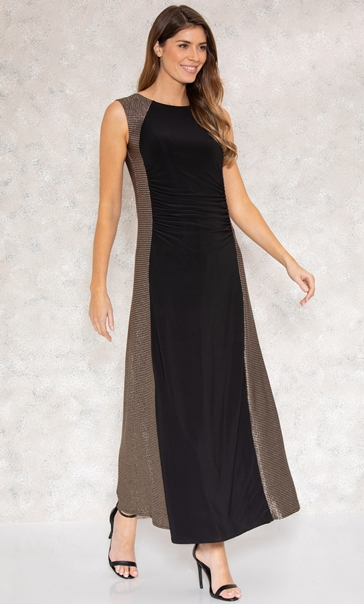 Shimmer Panel Maxi Dress Black/Gold