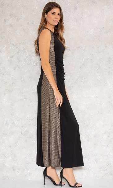 Shimmer Panel Maxi Dress Black/Gold - Gallery Image 2