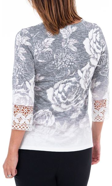 Anna Rose Lace Knitted Top Grey/Ivory - Gallery Image 2