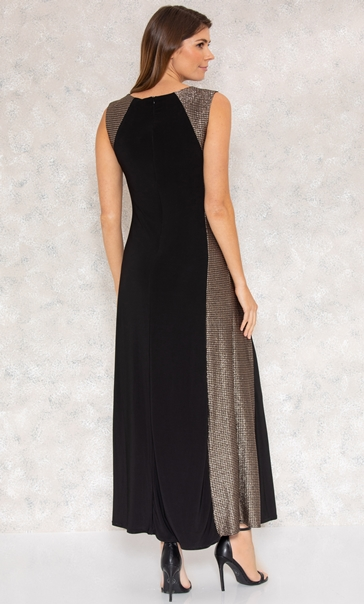 Shimmer Panel Maxi Dress Black/Gold - Gallery Image 3
