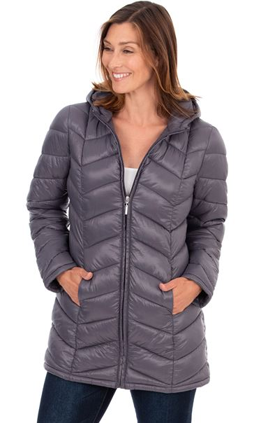 Zip Up Quilted Pack Away Coat - Grey