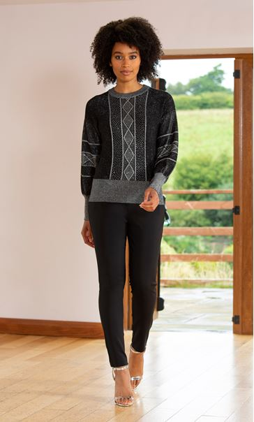 Embellished Balloon Sleeve Knitted Top Black