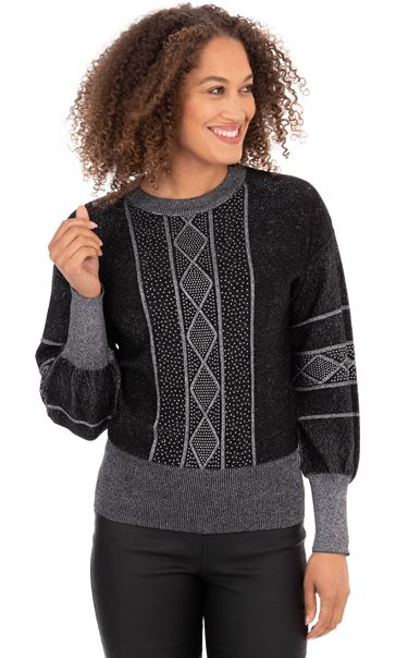 Embellished Balloon Sleeve Knitted Top Black - Gallery Image 2