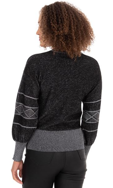 Embellished Balloon Sleeve Knitted Top Black - Gallery Image 3