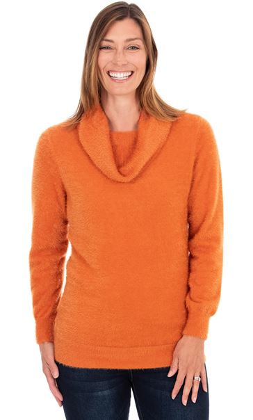Cowl Neck Eyelash Knit Top - Orange