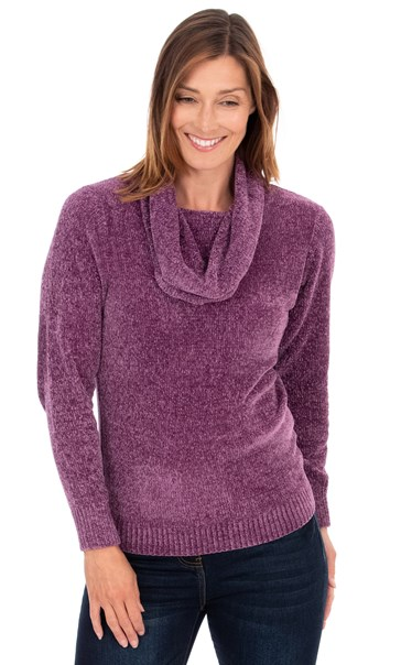 Cowl Neck Long Sleeve Chenille Top Light Purple