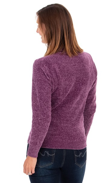 Cowl Neck Long Sleeve Chenille Top Purple - Gallery Image 2