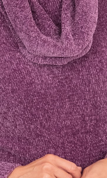 Cowl Neck Long Sleeve Chenille Top Purple - Gallery Image 3
