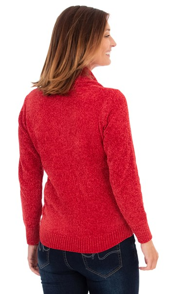 Cowl Neck Chenille Top - Ruby