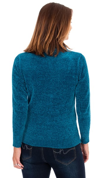 Cowl Neck Long Sleeve Chenille Top Teal - Gallery Image 2
