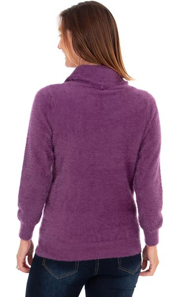 Eyelash Knit Cowl Neck Top - Purple