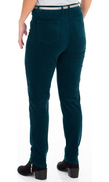 Slim Leg Belted Cord Trousers Green - Gallery Image 2