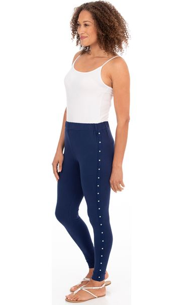 Full Length Studded Jersey Leggings - Navy
