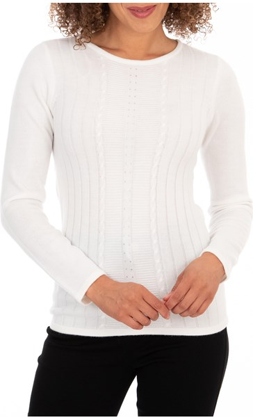 Anna Rose Embellished Knit Top - Ivory