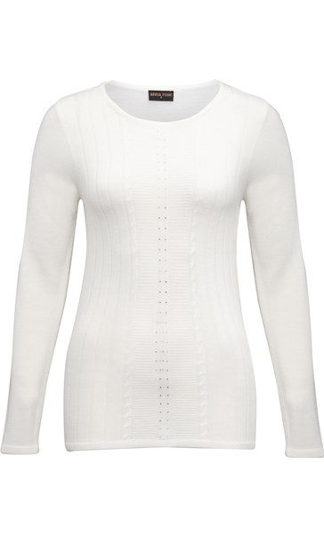 Anna Rose Embellished Knit Top Ivory - Gallery Image 3
