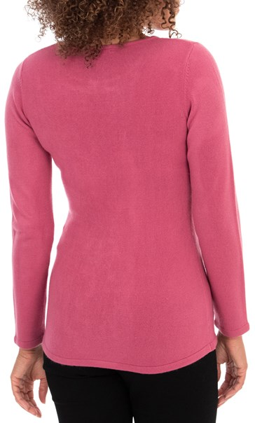 Anna Rose Embellished Knit Top - Raspberry