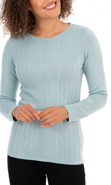 Anna Rose Embellished Knit Top - Duck Egg