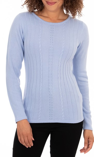Anna Rose Embellished Knit Top - Steel Blue