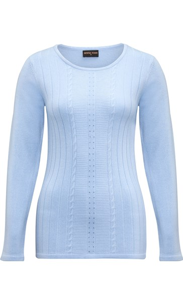 Anna Rose Embellished Knit Top Steel Blue - Gallery Image 3