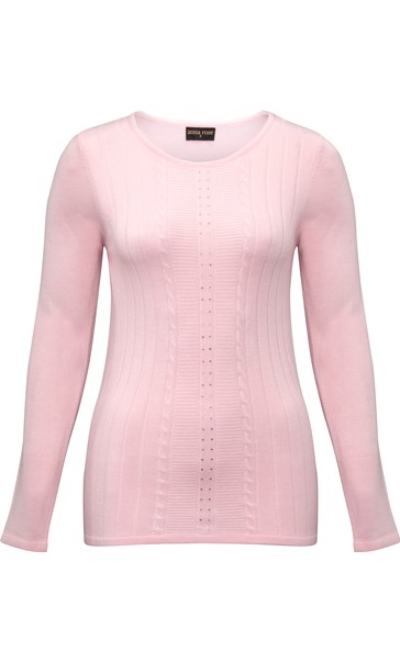 Anna Rose Embellished Knit Top Pale Pink - Gallery Image 3