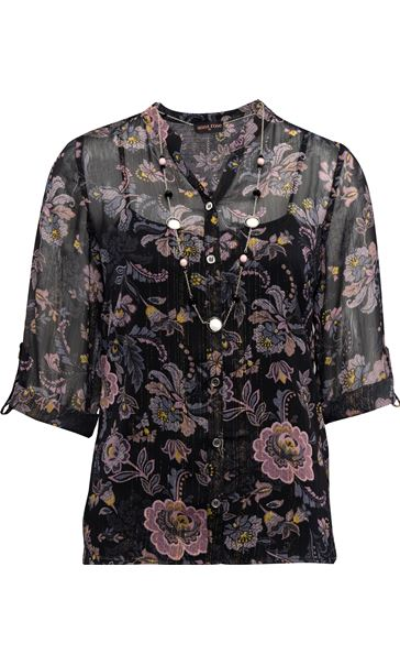 Anna Rose Sheer Floral Top With Necklace Black/Pink - Gallery Image 3