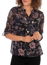 Anna Rose Sheer Floral Top With Necklace