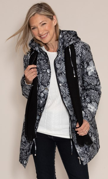 Anna Rose Print Coat With Scarf Black Floral