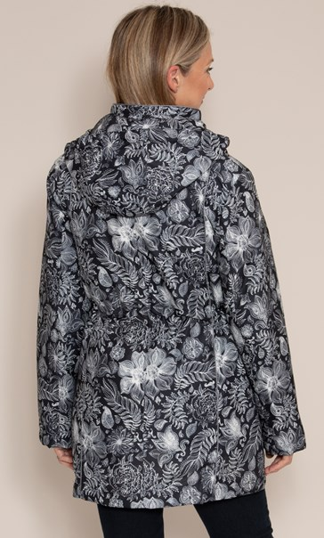 Anna Rose Print Coat With Scarf Black Floral - Gallery Image 3