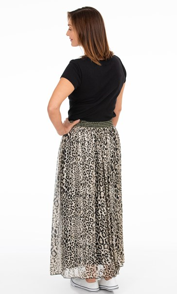 Animal Printed Chiffon Maxi Skirt