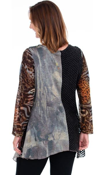 Cowl Neck Mixed Print Tunic Brown Multi - Gallery Image 2