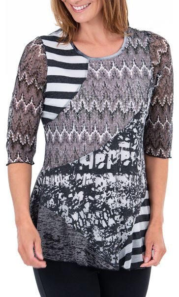 Anna Rose Multi Print Textured Top Black/Grey