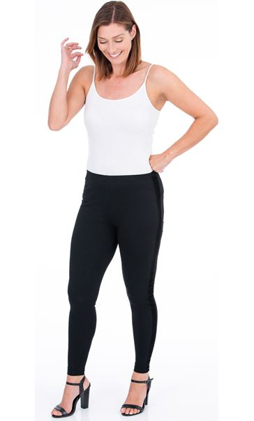 Pull On Contrast Trim Leggings Black - Gallery Image 1