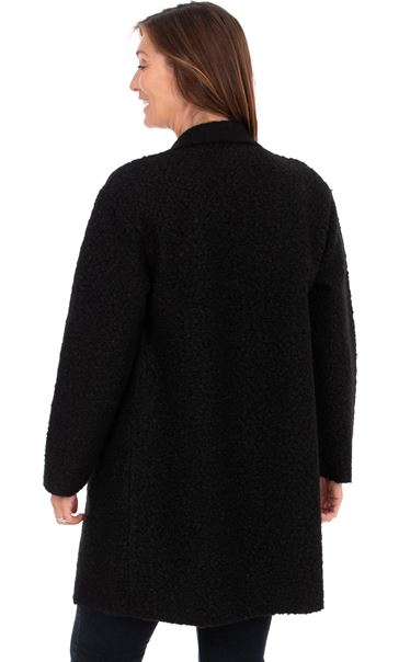 Textured Longline Jacket - Black