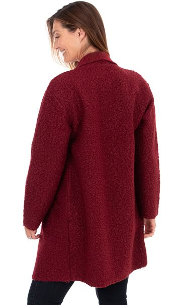 Textured Longline Jacket Ruby - Gallery Image 3