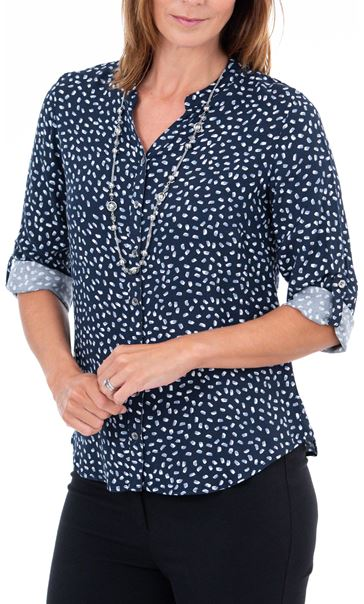 Anna Rose Printed Blouse With Necklace Blue/Ivory