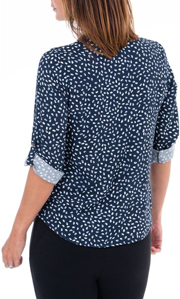 Anna Rose Printed Blouse With Necklace Blue/Ivory - Gallery Image 2