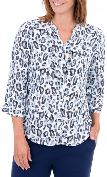 Anna Rose Animal Print Blouse With Necklace Blue/Ivory