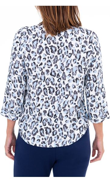 Anna Rose Animal Print Blouse With Necklace Blue/Ivory - Gallery Image 2