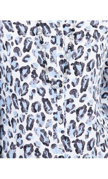 Anna Rose Animal Print Blouse With Necklace Blue/Ivory - Gallery Image 3